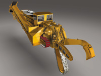 This rendering of a trenching machine, designed using Autodesk Inventor, demonstrates its ability to handle very large assemblies.
