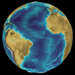 Figure 2. A representation of the Earth made with the global IHO/IOC GEBCO One-Minute Grid. The 3D visualization was made by Martin Jakobsson at the Center for Coastal and Ocean Mapping/Joint Hydrographic Center, University of New Hampshire. Image courtesy NGDC.