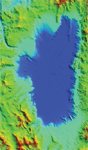 Figure 3. Plan view of a pseudo-color map of Lake Tahoe, California. Image courtesy of Satellite Imaging Corp. (SIC).