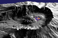 Figure 4. 3D terrain model of Mt. St. Helens in Washington state. Image courtesy of the Jet Propulsion Laboratory.