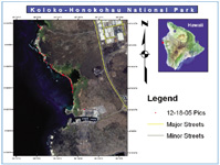 Figure 1. To measure the rate of shoreline erosion in Hawaii, Kealakehe High School students and their instructor Larry Rice used digital cameras equipped with GPS cards. This map shows the outcome of their first field trip.