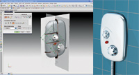 Figure 3. NX Industrial Design (formerly known as Shape Studio) is well suited for creating some fairly advanced surfaces, as shown in this design (left) for a shower control panel. A final rendering (right) of the shower control panel includes a hose in a realistic environment.