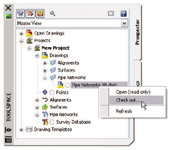 Figure 5. Project management can be augmented with Vault, which stores designs in centralized locations and allows users to share access to Civil 3D objects.