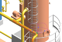Figure 1. AVEVA s PDMS creates 3D designs and deliverables using model management, advanced clash management, visual review, automatic pipe routing and construction deliverables features.