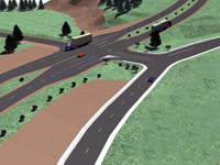Figure 3. Eagle Point's Intersection Design helps with the road design, including pavement, islands and medians, shoulders and sidewalks.