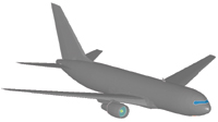 Figure 1. By adding structural data into the digital model of a Boeing 767-200 purchased from a computer game company, the Purdue researchers produced the FEA model needed to simulate the September 11 terrorist attack on the World Trade Center's North Tower.