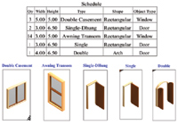 Figure 2. A paper space view of the Door and Window Schedule feature.