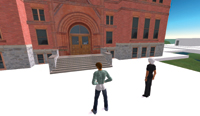 Figure 1. Columnist Kenneth Wong and Terry Beaubois, director of the Creative Research Lab at Montana State University, made a virtual visit to Montana Hall to inspect its outer architecture in Second Life.