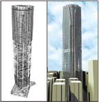 Figure 1. Tools such as Gehry Technologies' Digital Project help architects and engineers better (left) analyze and (right) visualize their building designs before construction starts. (Copyrighted images courtesy of Swire Properties)