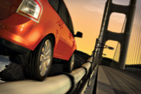 Figure 1. The new Ford Edge climbs  the suspension cable of the Golden Gate Bridge in the latest online commercial. The physics-defying stunt is made possible by accurate manufacturing data from Ford, Autodesk 3ds Max and other digital tools.