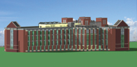 Figure 1. A rendering of the University of Florida's Pathogen Research Facility building. It was created from an ArchiCAD 10 working model used to produce the construction documents and rendered solely in ArchiCAD 11, which took 5 minutes on a standard BIM workstation. Image courtesy of CUH2A and the University of Florida.