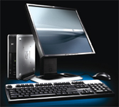 "The new HP Compaq dc7800 is touted as a ""zero-footprint PC"" for its compactness."
