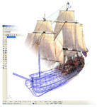 Figure 1. A model of the Bonhomme Richard created in Rhino-ceros, a NURBS modeling program from Robert McNeel & Associates. Image courtesy of the Ocean Technology Foundation.