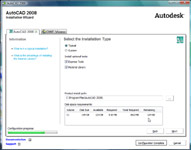 A typical application installation screen that shows AutoCAD 2008 beta installing under Windows Vista Ultimate.
