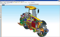 Figure 3. NX 5 Active Mockup supports true design in context, even for massive, multi-CAD assembly models. It improves large assembly performance and unites the review and redesign processes. This image depicts a dynamic cross-section of a tractor assembly model.
