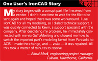One User ;s IronCAD Story