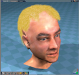Figure 2. Creating hair in trueSpace 7.5 is really easy. And it looks good, too! (Is that Tom Hanks as a blond?)