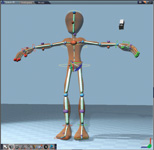 Figure 3. The software has a whole library of characters. They have bones that you can click and drag to move them realistically. It works great in animations.