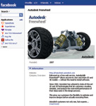 Figure 3. Autodesk Freewheel established a home page on Facebook.