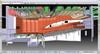 Figure 1. The ability to coordinate architecture, structure, and MEP systems in a single model with associated data is a key element of BIM for builders. This example shows proposed renovations to Alice Tully Hall, Lincoln Center for the Performing Arts, New York, which were designed using Gehry Technologies  Digital Project and 3D Strategy software. (Copyrighted image courtesy of Diller Scofidio + Renfro)