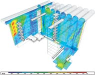 Figure 1. MEP analysis techniques such as computational fluid dynamics can be applied to highly sophisticated tasks, such as calculating airflows across a building atrium, within a BIM workflow or independently by tools such as IES Virtual Environment. (Courtesy of IES)