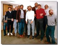 Some of Autodesk's founding fathers (from left to right): Rudolf Künzli, Mike Ford, Dan Drake, Mauri Laitinen, Greg Lutz, David Kalish, Lars Moureau, Richard Handyside, Kern Sibbald, Hal Royaltey, Duff Kurland, John Walker, and Keith Marcelius. (Courtesy of Autodesk)
