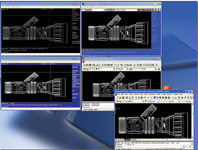 AutoCAD v2.18, 9, 12, 14, and 2002 running at the same time, editing the very same NOZZLE.DWG file from AutoCAD v2.18. Samples dated April 5, 1985 by Don Strimbu.