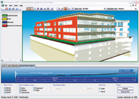 Figure 4. Vico 5D Presenter combines model (3D), schedule (4D), and cost (5D) information in an information-rich, integrated display that is well suited to presentations for — and decision-making by — building clients or general contractors, construction managers, and design builders senior management.