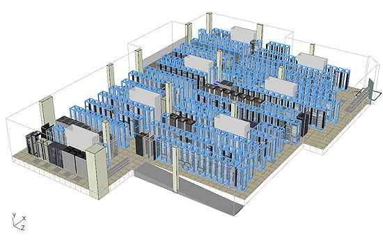Virtual facility simulation cuts data center cooling costs for Data center floor plan