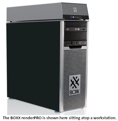 The BOXX renderPro is shown here sitting atop a workstation.