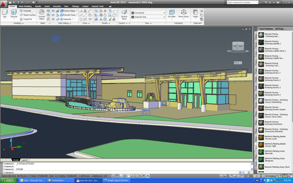 Although Larson & Darby has started to used Revit in project work flow, AutoCAD remains its choice for a lot of its design work. Here, an overall shot of a project lets the designers quickly show clients how the proposed design integrates with their building. (Image courtesy of Larson & Darby.)