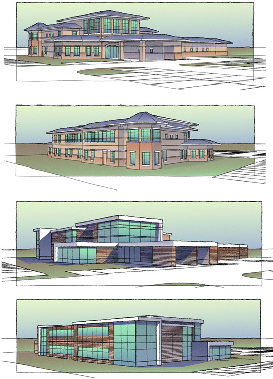 These Impression renderings show different styles on a similar floor plan, giving clients options for a medical building. The sketch quality kept the design intent clear to gauge client reaction while still giving Larson & Darby ample latitude to refine the design. (Image courtesy of Larson & Darby Group.)