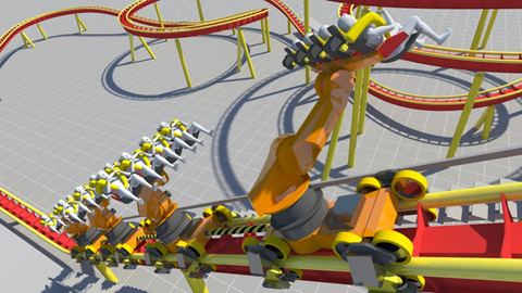 Dynamic Structures' latest RoboCoaster uses programmable robot units mounted to ride vehicles. The robots lift, rotate, and tilt passengers as the vehicles move along coaster tracks. (Image courtesy of Dynamic Structures.)