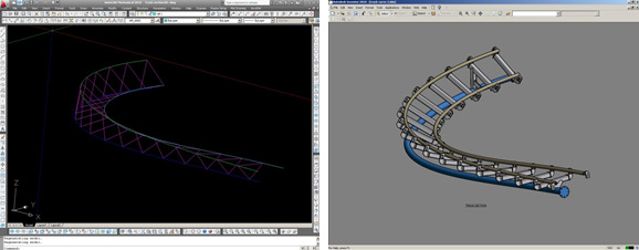 Dynamic Structures uses AutoCAD to lay out the track centerline for a roller coaster and then develops complete models using either AutoCAD or Autodesk Inventor. Cross-platform compatibility means the engineers can move easily between various Autodesk products. (Images courtesy of Dynamic Structures.)