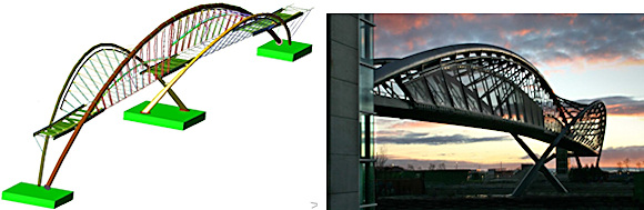 Dynamic Structures was responsible for detailing, fabricating, and erecting the steel superstructure of a unique helix-shaped pedestrian overpass in Seattle for the world's largest biotechnology company, Amgen. (Image courtesy of Dynamic Structures.)