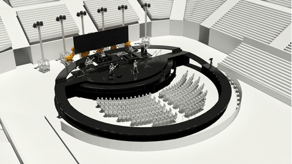 After designing the stage for The Circle Tour in 3D using AutoCAD, the team at Tait Towers produced renderings in 3ds Max Design to help Jon Bon Jovi and his production designer visualize the completed concept. (Image courtesy of Tait Towers.)