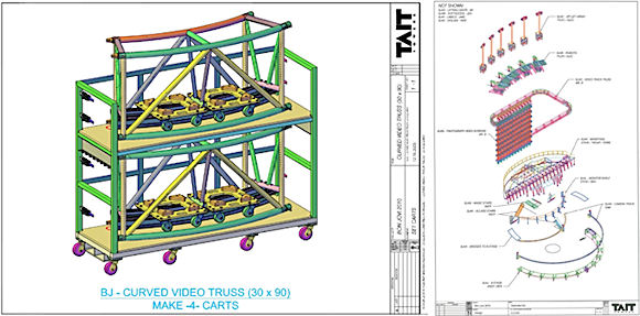 Tait Towers also creates models showing how stage components fit onto each dolly, how those dollies fit into the 16 trucks that transport the stage from city to city, and how everything get assembled after the show rolls into town. (Images courtesy of Tait Towers.)
