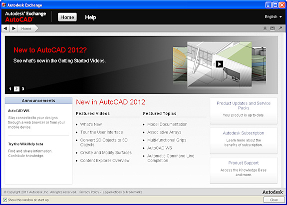 The Autodesk Exchange screen appears when you launch AutoCAD 2012.