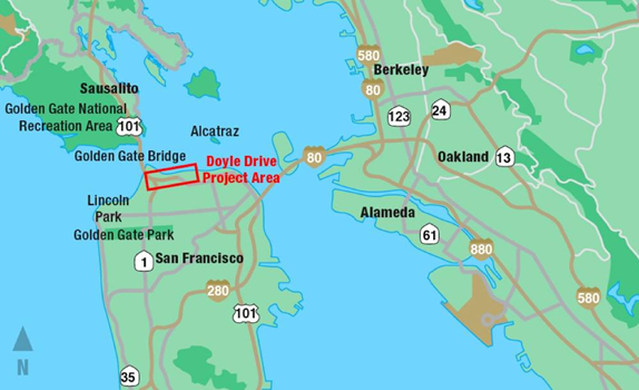 The Presidio Parkway project involves the replacement of the existing south access road to the Golden Gate Bridge. Originally built in 1938, the roadway known as Doyle Drive and Route 101 has reached the end of its useful life. (Image courtesy of the Presidio Parkway project.)
