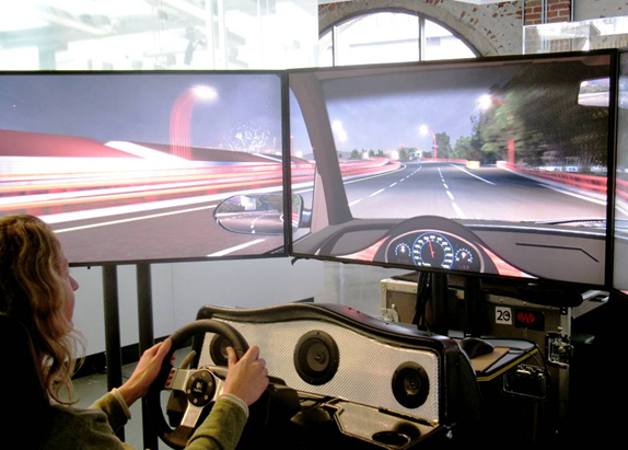 The Presidio Parkway Transportation Simulator, now on display at the Autodesk Gallery, enables the public to take a virtual drive on the new roadway years before its completion. (Image courtesy of Autodesk and the Presidio Parkway project.)