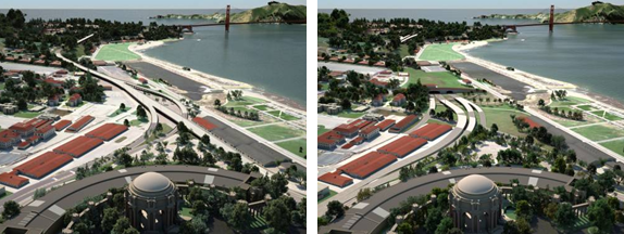 Before (left) and after (right) visualizations such as these, developed using Autodesk software, help the public understand aspects of the Presidio Parkway design. (Images courtesy of the Presidio Parkway project.)