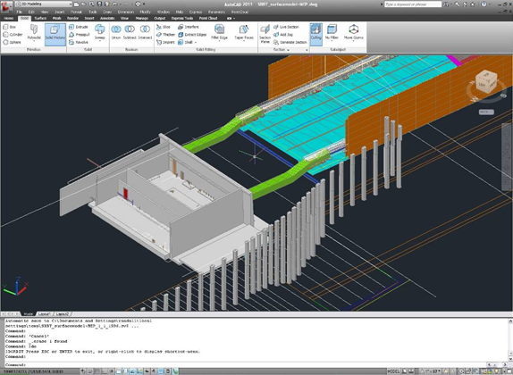 Engineers at Parsons Brinckerhoff use AutoCAD Civil 3D and other Autodesk software to model Presidio Parkway project. This model of an electrical substation — developed using Revit -- shows duct banks (in green) with embedded electrical, drainage, and fire protection systems. (Image courtesy of SFCTA and Parsons Brinckerhoff.)