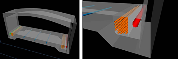 Cross-sections of one of the Presidio Parkway tunnels show the roadway slab with embedded high voltage lines (blue), electrical conduits (orange), drainage (red), and fire protection (green). These models were created in AutoCAD 2011 by sweeping profiles along paths created in Civil 3D. (Images courtesy of SFCTA and Parsons Brinckerhoff.)