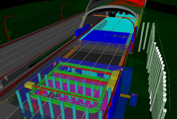 By making the roadway and structure near the tunnel portal transparent, Parsons Brinckerhoff engineers can see the electrical substation (modeled in Revit MEP) concealed within a bridge abutment, alongside a temporary shoring wall. (Image courtesy of SFCTA and Parsons Brinckerhoff.)
