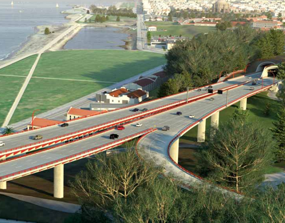 The combination of elevated viaducts and tunnels will not only improve vehicle safety but also enable pedestrians and bicyclists to cross over or under the new parkway at numerous locations. (Image courtesy of the Presidio Parkway project.)