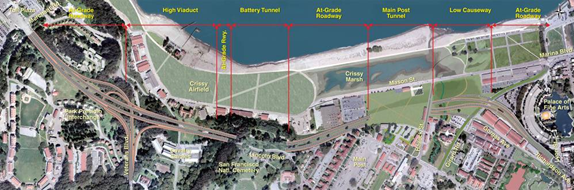 Work on the new parkway will be phased to keep traffic flowing and move vehicles off of the old roadway and onto the new structures as soon as possible. (Image courtesy of the Presidio Parkway project.)