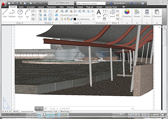 The user interface of AutoCAD 2013 is similar to previous versions, with a few new features such as the floating Command line and more icons in the system tray and top menu bar.