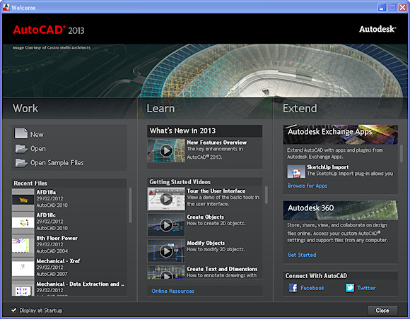 AutoCAD 2013 sports a new Welcome screen.