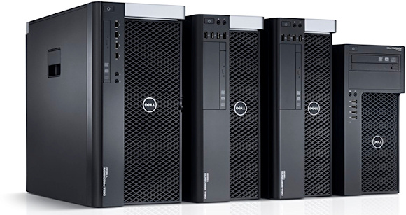 New Dell Precision tower workstations: the T7600, T5600, T3600, and the entry-level T1650. All images Courtesy of Dell, Inc.