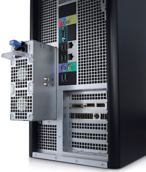 Users have instant, tool-free access to the removable power supply, as shown here on the Dell Precison T7600.